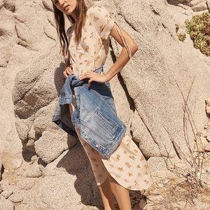 Madewell Silk Wrap Midi Dress In Field Bouquet